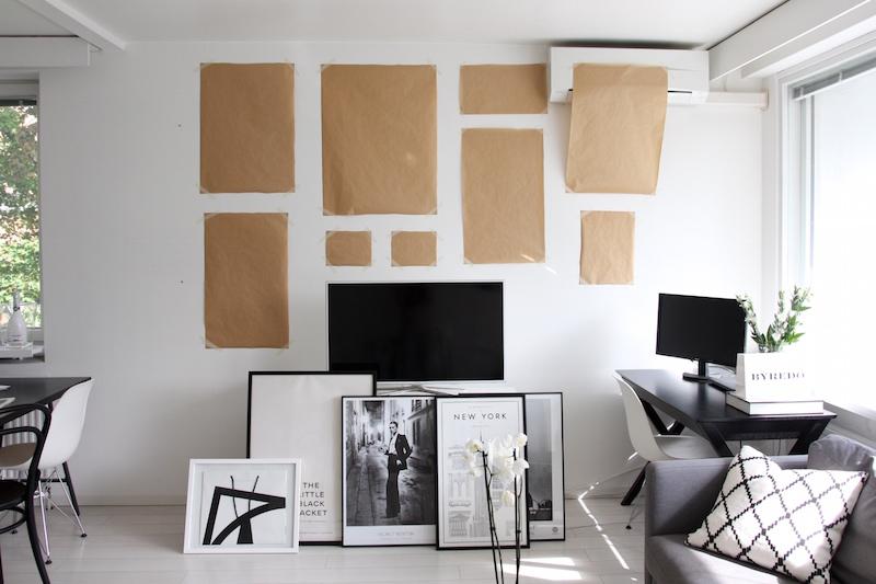 Homevialaura, tauluseinä, taulut, julisteet, printit, olohuoneen sisustus