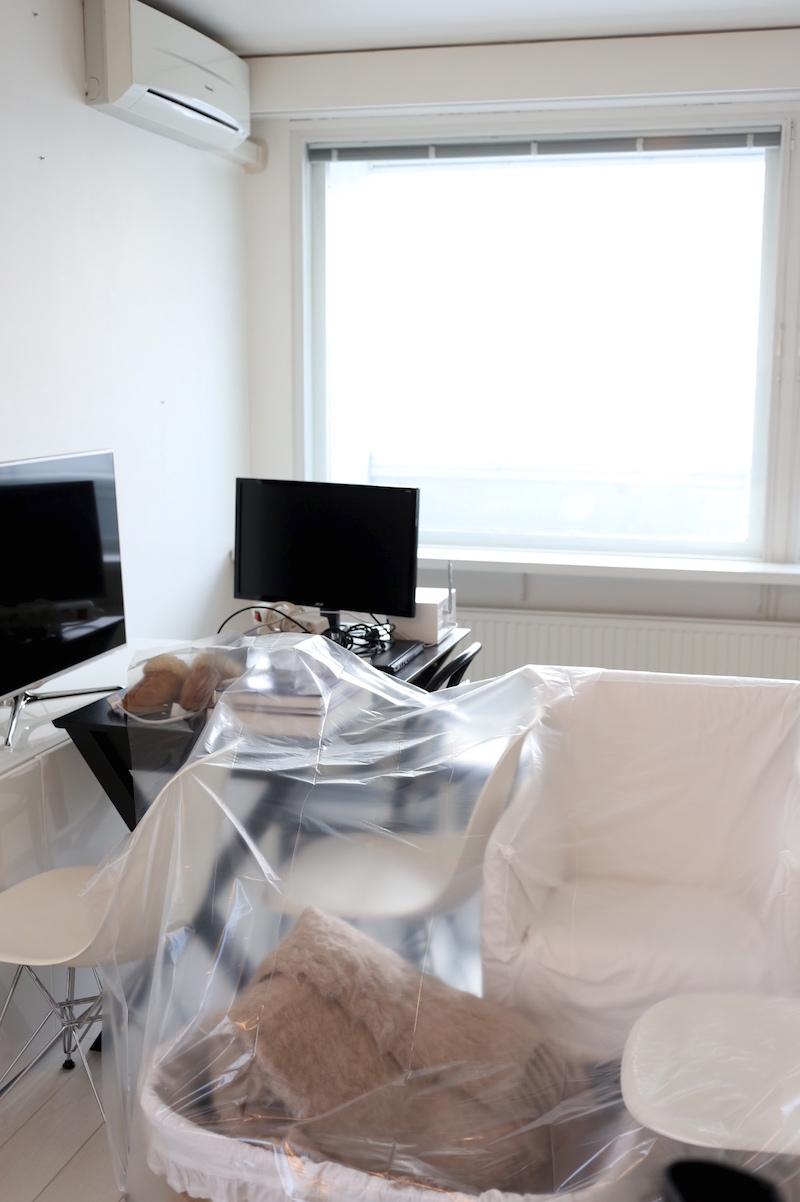 Homevialaura, remontti, ilmanlämpöpumpun ja verholautojen poistaminen