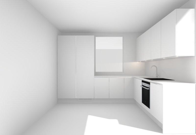 Homevialaura, uusi koti, moderni valkoinen keittiö, suunnitelma, HTH