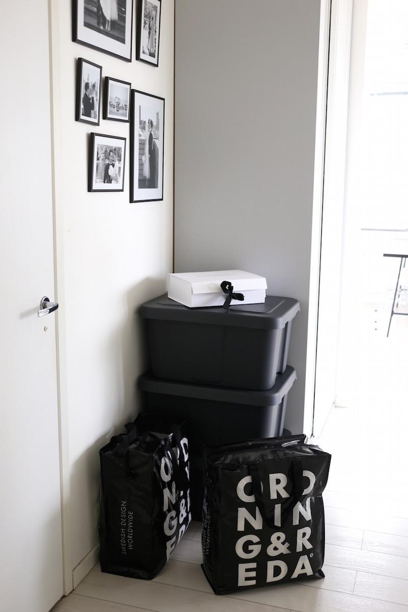 Homevialaura, muutto, laatikko, Ikea Klämtare, säilytyskassi, Ordning & Reda