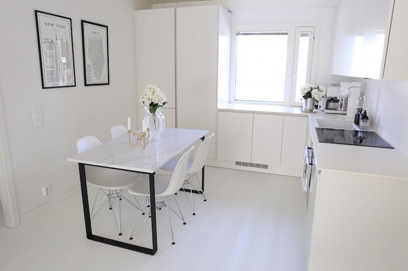Homevialaura, marmoripoyta, teetetty ruokapöytä, Eames DSR