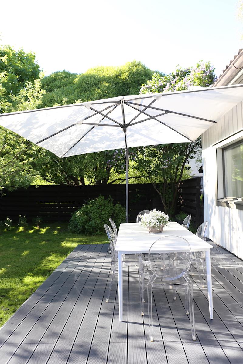 Homevialaura, valkoinen aurinkovarjo, Kruunukaluste Lux, piha, terassi