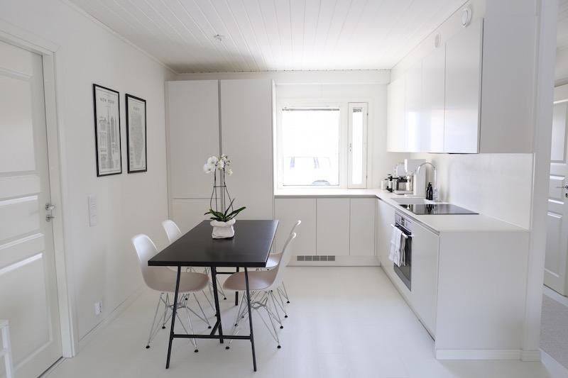 Homevialaura, keittiöremontti, valkoinen moderni keittiö, HTH VH7