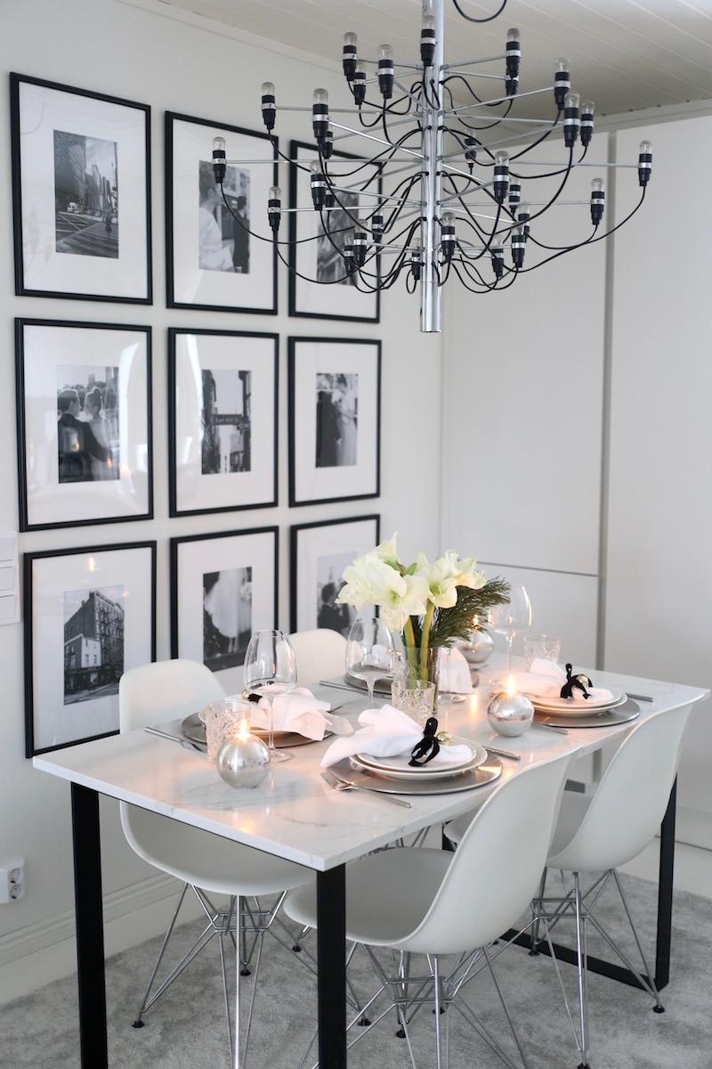 Homevialaura, keittiö, ruokapöytä, Flos, kattokruunu, marmoripöytä, kattaus, astiat