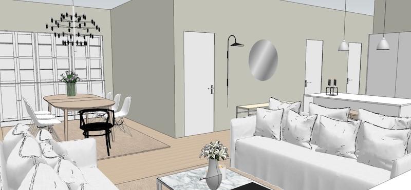 Homevialaura, sisustusuunnitelma olohuoneeseen, Mirella Hölttä
