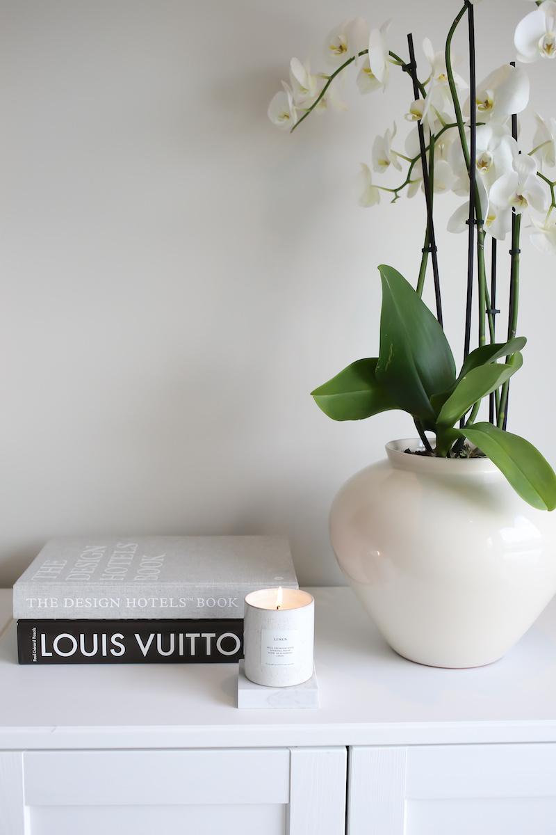 Homevialaura, valkoinen orkidea, beige ruukku, H&M Home